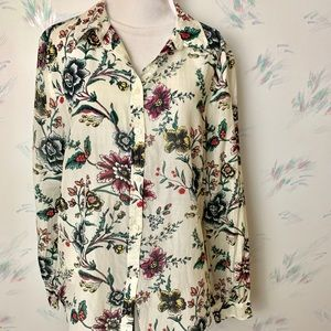 Ann Taylor LOFT White Floral Silk Button Down Top